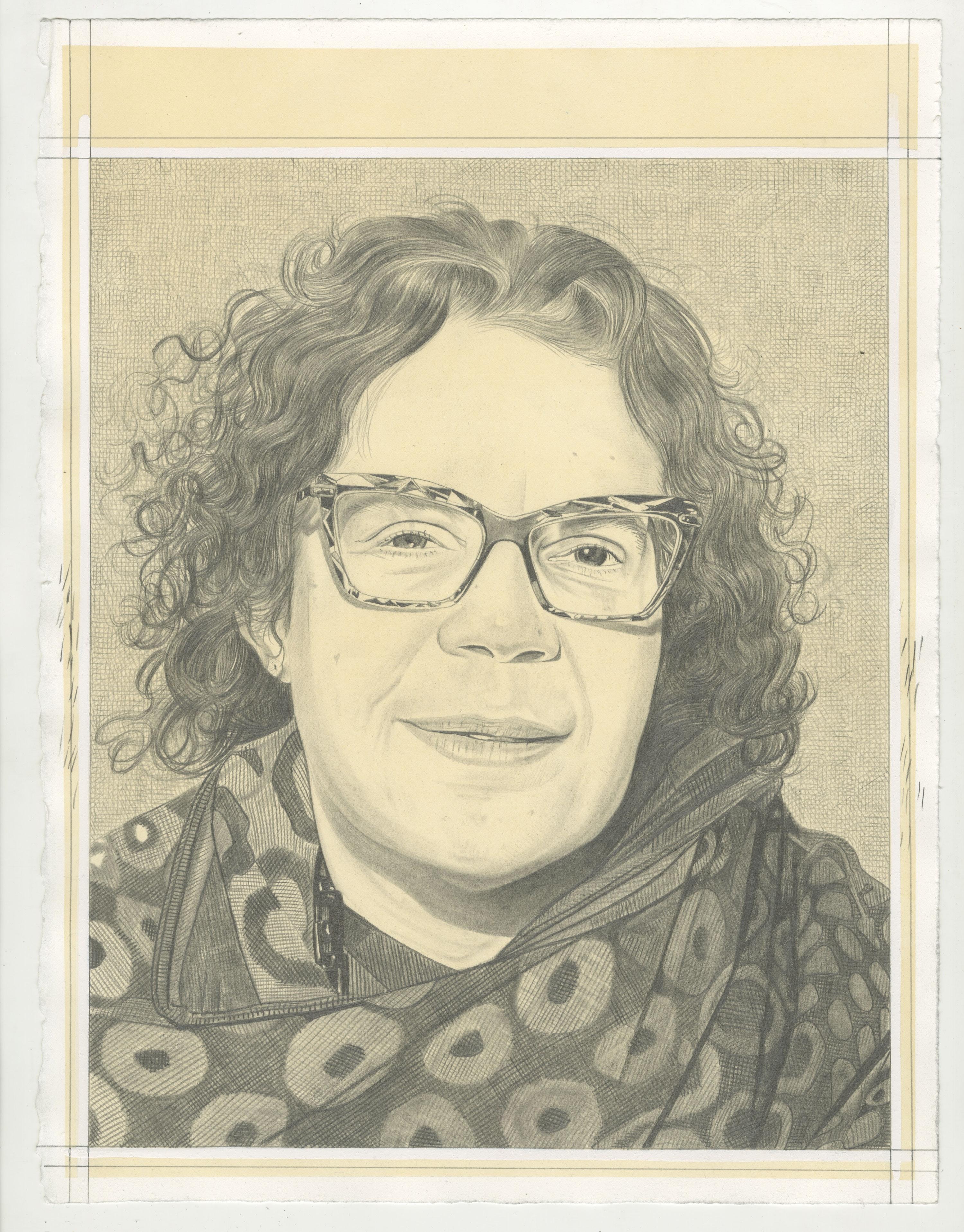 Portrait of Candida Alvarez, pencil on paper by Phong H. Bui.