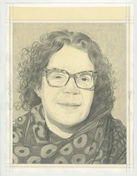 Portrait of Candida Alvarez, pencil on paper by Phong H. Bui.