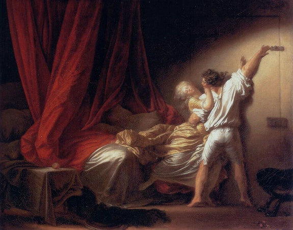 Jean-Honoré Fragonard, <em>Le Verrou</em>, 1777. Oil on canvas, 23 2/4 x 36 1/2 inches. Collection of the Louvre, Paris.