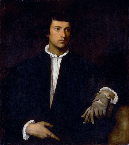 Titian, <em>Man With a Glove</em>, c.1520. Oil on canvas, 39 x 35 inches. Collection of the Louvre, Paris.