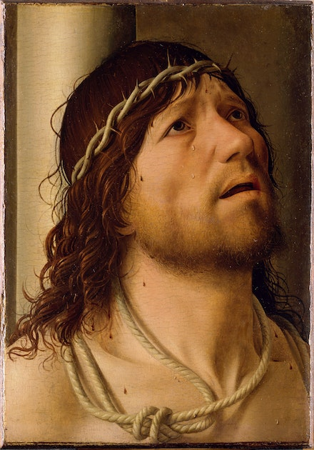 Antonello da Messina, <em>Christ at the Column</em>, c. 1476-78. Oil on panel, 10 1/4 x 8 1/4 inches. Collection of the Louvre, Paris.