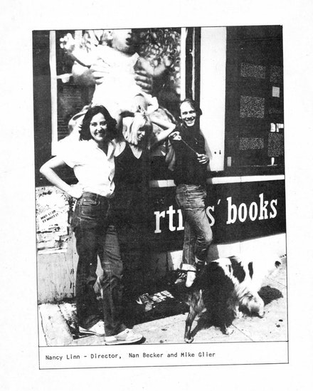 Interior page of Printed Matter Catalog, 1981, showing staff members Nancy Linn, Nan Becker, and Mike Glier.