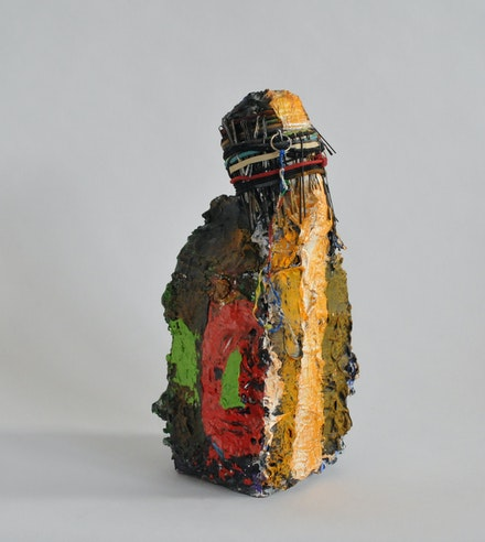 Bob Witz, <em>Everybody and Nobody</em>, 1980 - 2019. Mixed media, milk carton, rubber bands, hair pins, and paint, 13 x 5 x 5 inches. Courtesy the artist and OSMOS. Photo: Paul Lemarre.