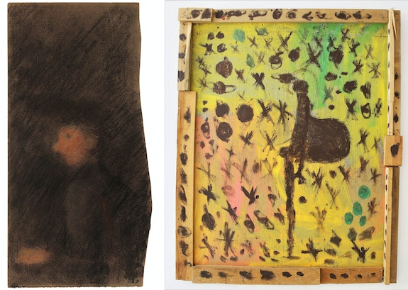 Left: Édouard Vuillard, <em>Woman in Profile</em>, c.1890. Pastel on Paper, 9 1/2 x 4 1/2 inches. Right: Purvis Young, Untitled, c.1990. Acrylic on Wood, 59 x 48 inches. Courtesy Shin Gallery, New York.
