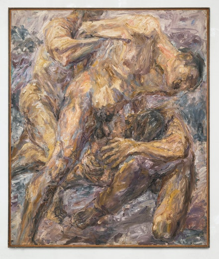 Philip Pearlstein, <em>The Capture</em>, 1954. Oil on canvas, 48 x 40 inches. Courtesy Betty Cuningham Gallery.