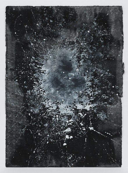 Jack Whitten, <em>Study For Atopolis E</em>, 2014. Acrylic on Blotter paper, 18 1/4 x 13 inches. © Jack Whitten Estate. Courtesy the Jack Whitten Estate and Hauser & Wirth. Photo: Genevieve Hanson.