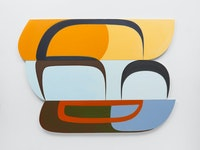 Joanna Pousette-Dart, <em>3 Part Variation #12</em>, 2017. Acrylic on canvas on shaped wood panels, 66 1/2 x 90 x 1 1/2 inches. © Joanna Pousette-Dart. Courtesy Lisson Gallery.