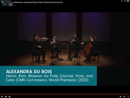 Chamber Music Society of Lincoln Center, March 12, 2020. Screenshot by George Grella.