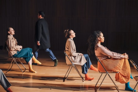 Emma Pajewski, Philip Strom, Gwendolyn Gussman, and Dervla Carey-Jones in <em>People in the Sun</em>. Photo: Charles Roussel for Cherylyn Lavagnino Dance.