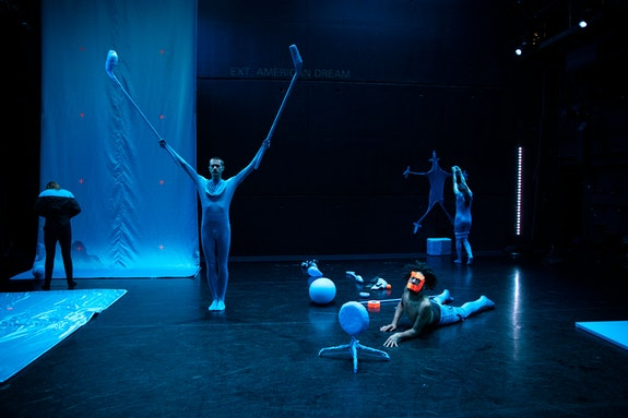 Emma Judkins, Doug LeCours, Wendell Gray II, and Christine Bonansea in Zuštiak's <em>HEBEL</em>. Photo: Maria Baranova.