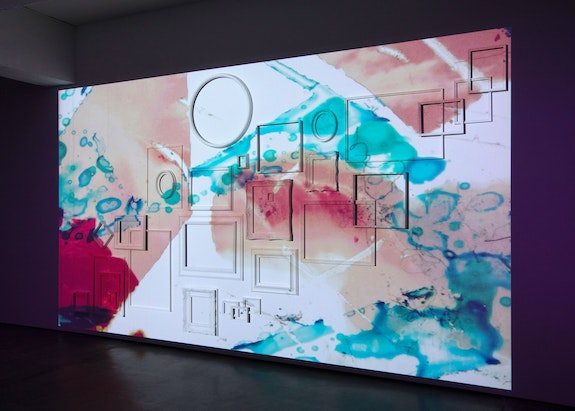 Ja'Tovia Gary, <em>THE GIVERNY SUITE </em>(detail), 2019. Film, three-channel installation, stereo sound, HD and SD video footage, 39:56 minutes, looped, color/black & white 1920 x 1080, 16:9 aspect ratio, dimensions variable. © Ja'Tovia Gary. Courtesy Paula Cooper Gallery, New York. Photo: Steven Probert.