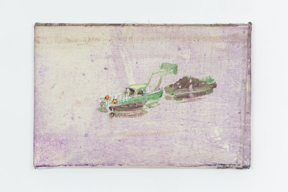 Merlin James, <em>Dredging</em>, 2018. Acrylic and mixed materials, 8 x 11 3/4 inches. Courtesy the artist and Sikkema Jenkins & Co., New York.