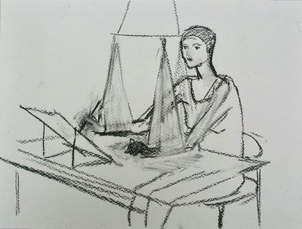Merlin James, <em>Drawing</em>, 2019. Graphite on paper, 9 1/2 x 12 1/2 inches. Courtesy the artist and Sikkema Jenkins & Co., New York.