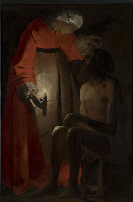 Georges de La Tour,<em> Job Taunted by His Wife</em>, c.1650. Oil on canvas, 57 x 38 inches. Musée départemental d'Art ancien et contemporain, Épinal, France.