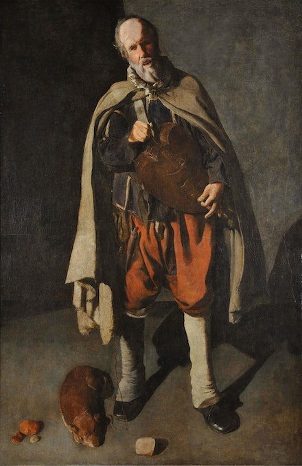 Georges de La Tour, <em>The Hurdy-gurdy Player with a Dog</em>, 1622–1625. Oil on canvas, 73 1/4 x 47 1/4 inches. Musée du Mont-de-Piété, Bergues, France.