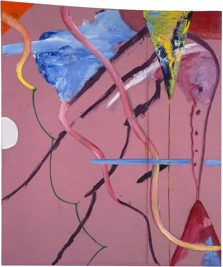 Julian Schnabel, <em>The Patch of Blue the Prisoner Calls the Sky I</em>, 2019. Oil on found fabric, 108 x 90 inches. © Julian Schnabel.