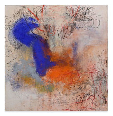Rita Ackermann, <em>Mama, War Wall</em>, 2019. Oil, china marker, and pigment on canvas, 76 x 74 inches. © Rita Ackermann. Courtesy the artist and Hauser & Wirth. Photo: Thomas Barratt.
