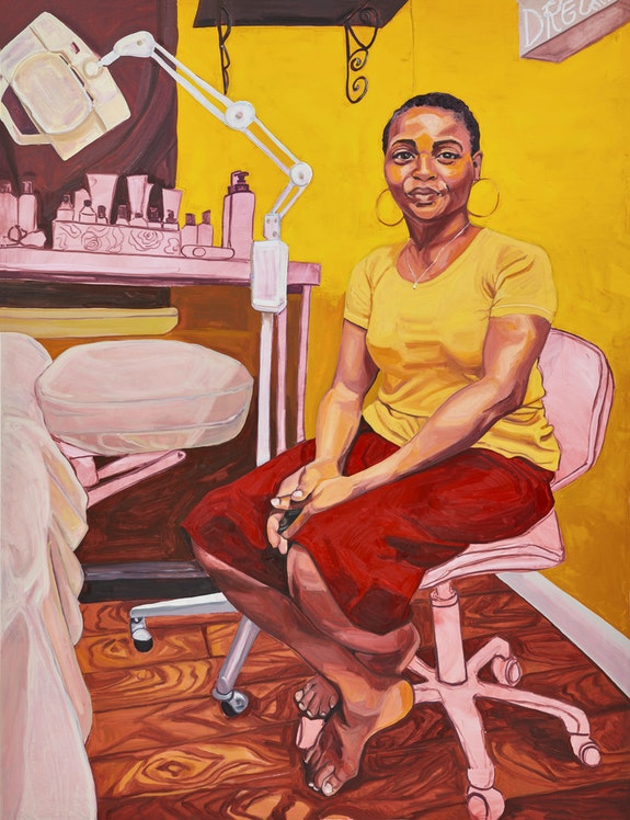 Jordan Casteel, Shirley (Spa Boutique2Go), 2018. Oil on canvas, 78 x 60 inches. The Alfond Collection of Contemporary Art, Cornell Fine Arts Museum, Rollins College. Courtesy the artist and Casey Kaplan, New York