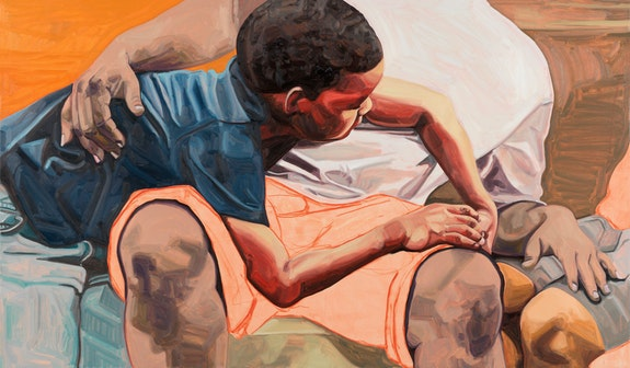 Jordan Casteel, Within Reach, 2019. Oil on canvas, 35 x 60 inches. The Joyner/Giuffrida Collection. Courtesy the artist and Casey Kaplan, New York.