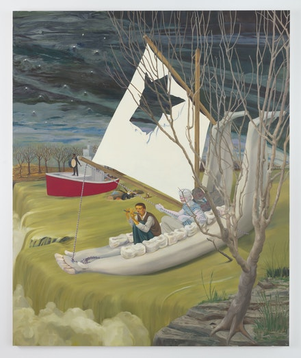 <p>Nicole Eisenman, <em>Heading Down the River on the USS J-Bone of an Ass</em>, 2017. Oil on canvas. 127 1/4 x 105 x 1 3/4 inches. Artwork © Nicole Eisenman. Image courtesy the artist and Susanne Vielmetter Los Angeles Projects. Photo: Robert Wedemeyer.</p>