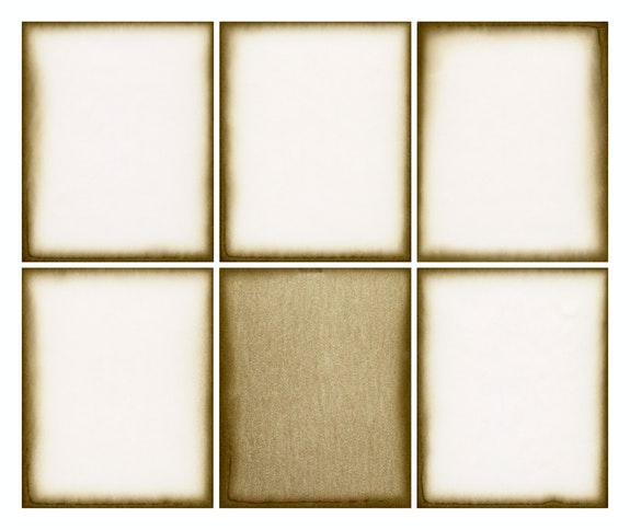 Alison Rossiter, Density 1947, 2020. Six Gelatin Silver Prints, 15 5/16 x 17 7/16 inches. Courtesy Yossi Milo, New York.