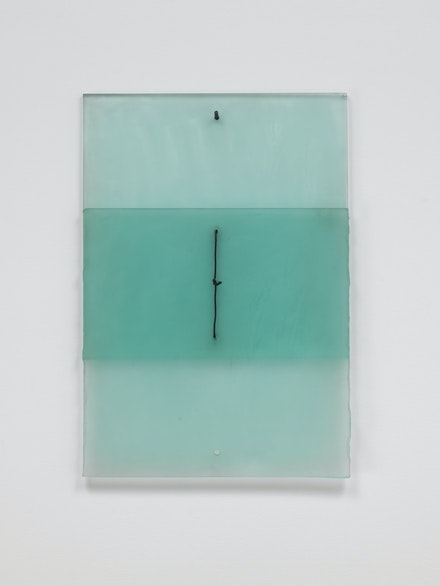Christopher Wilmarth, <em> Half Open Drawing, </em> 1971. Etched glass and steel cable, 24 1/2 x 17 x 1 inches.