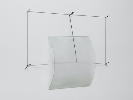 Christopher Wilmarth, <em> Sonoma Corners, </em> 1971. Etched glass and steel cable 24 x 34 3/4 x 3 3/4 inches.