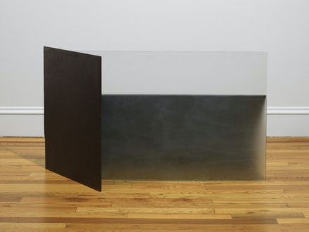 Christopher Wilmarth, <em> Invitation #3, </em> 1975–76. Etched glass and steel 24 x 42 1/4 x 14 inches.