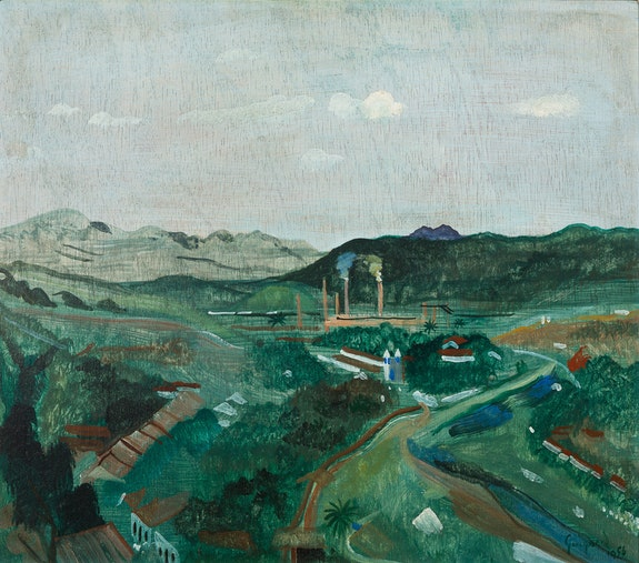 Alberto Da Veiga Guignard, <em>Paisagem de Sabará</em>, 1956. Oil on wood, 40 1/2 x 46 1/2 cm. Courtesy Mendes Wood, DM.