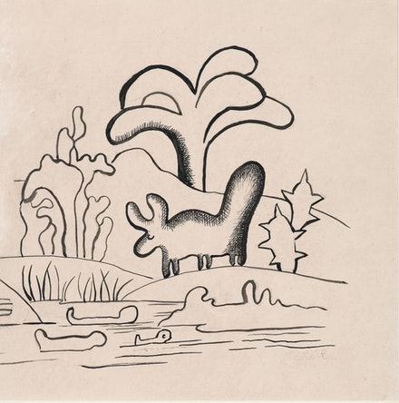 Tarsila do Amaral, <em>Boi na paisagem</em>, 1920s. Ink on paper, 21 1/2 x 21 1/2 cm. Courtesy Mendes Wood, DM.