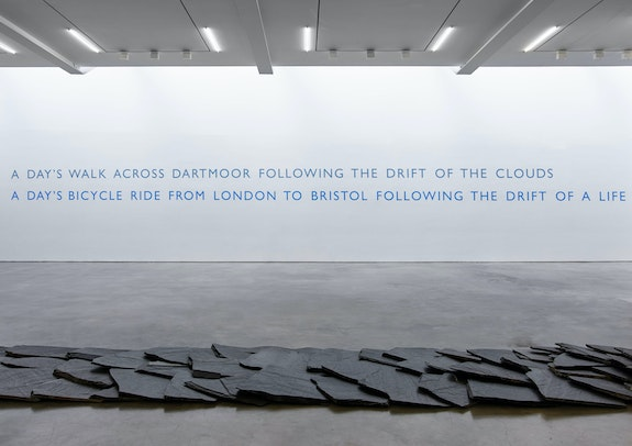 Installation view: <em>Richard Long: FROM </em>A ROLLING STONE<em> TO NOW</em>, Lisson Gallery, New York, 2020. © Richard Long. Courtesy Lisson Gallery.