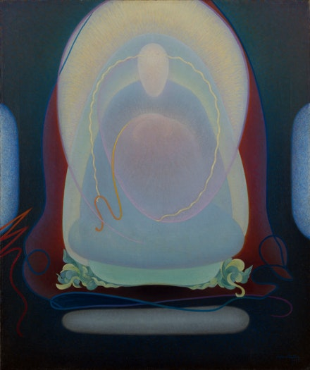 Agnes Pelton, <em>Mother of Silence</em>, 1933. Oil on canvas, 30 x 25 inches. Private collection.