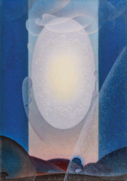 Agnes Pelton, <em>Light Center</em>, 1947–48. Oil on canvas, 36 x 25 inches. Collection of Lynda and Stewart Resnick. Photo: Jairo Ramirez.