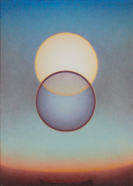 Agnes Pelton, <em>Departure</em>, 1952. Oil on canvas, 24 x 18 inches. Collection of Mike Stoller and Corky Hale Stoller. Photo: Paul Salveson.