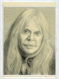 Portrait of Genesis Breyer P-Orridge, pencil on paper by Phong H. Bui.