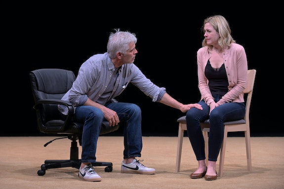 Left to right: R. Ward Duffy and Clea Aslip in <em>Love</em> by Kate Cortesi at Marin Theatre Company. Photo: Alessandra Mello.
