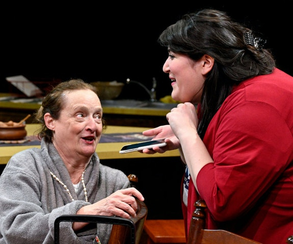 Left to right: Nancy Robinette and Nicole Spiezio in <em>Nicole Clark is Having a Baby</em> by Morgan Gould part of the 2020 Humana Festival of New American Plays. Photo: Jonathan Roberts