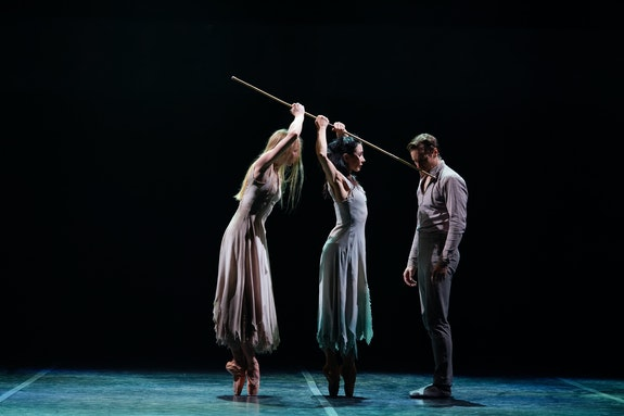 Stina Quagebeur, Tamara Rojo, and James Streeter in Akram Khan's <em>Giselle.</em> Photo: Laurent Liotardo