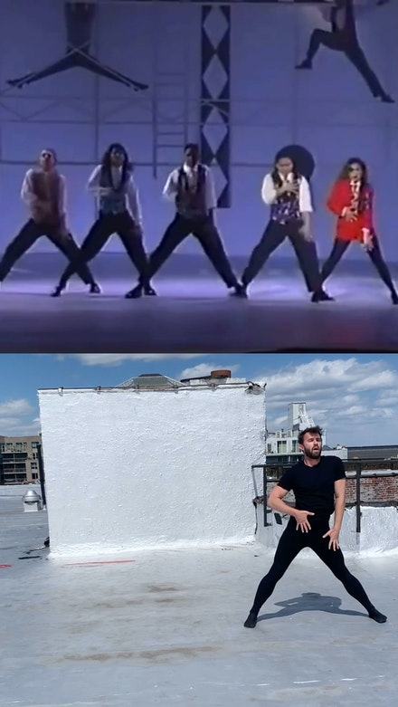 "Composite Image: Writer Rennie McDougall performing on his roof, April 2020;  Paula Abdul performing ""The Way That You Love Me"" for the 1990 American Music Awards."