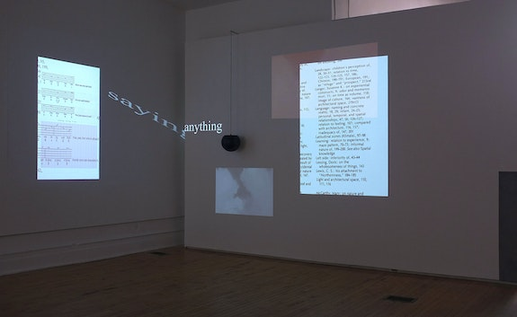 Jesse Chun, INDEXING MY MONOLOGUE (II), 2019, multi-channel video projections, graphite on wall.<em>voiceless consonants</em>, mal-configured airport speaker, steel bracket, 2 minutes sound, dimensions variable. courtesy of the artist, installation view at 1708 gallery.