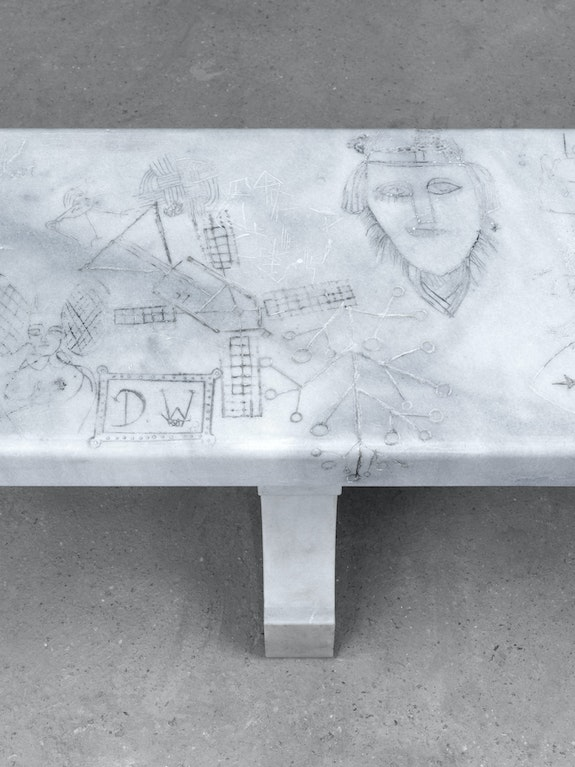 Shannon Bool, <em>All Saints Bench III</em> (detail), 2018, Marble, wax, pigments, 48 x 250 x 40 cm. Courtesy of the artist and her galleries; Daniel Faria (Toronto) and Kadel Willborn Gallery (Düsseldorf).