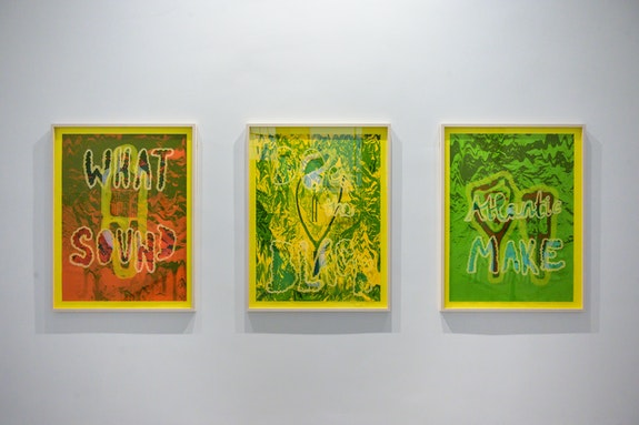 Alberta Whittle, <em>What Sound Does the Blk Atlantic Make?</em>, 2019, Screenprinted triptych with lasercut perspex, 114 x 86 cm