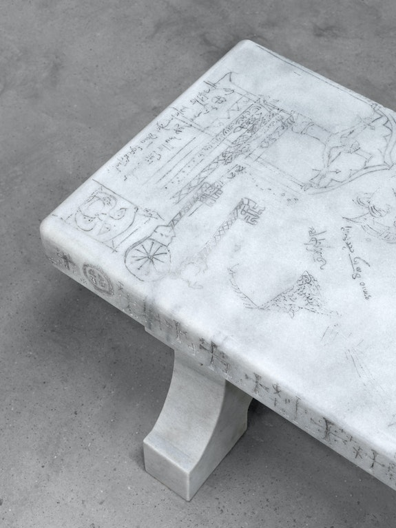 Shannon Bool, <em>All Saints Bench III</em> (detail), 2018, Marble, wax, pigments, 48 x 250 x 40 cm, Courtesy of the artist and Daniel Faria Gallery (Düsseldorf).