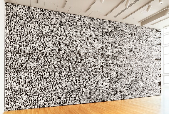 Xaviera Simmons, <em>Rupture</em>, 2017, Acrylic on wood, 16 x 42 feet. Courtesy the artist and David Castillo.