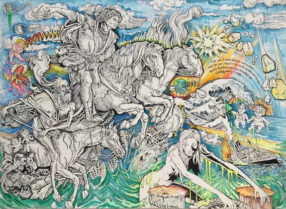 Audrey Flack, <em>Day of Reckoning</em>, 2020, Mixed Media on Canvas, 72 x 96 Inches, Collection of the Artist.