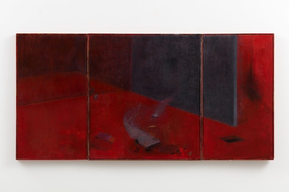 Guillermo Kuitca, <em>The Family Idiot</em>, 2019. Oil on canvas in artist frame, triptych, 36 3/8 x 73 1/4 inches.  © Guillermo Kuitca. Courtesy the artist and Hauser & Wirth. Photo: Fredrik Nilsen.