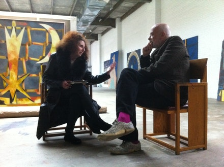 Louise Landes Levi and Francesco Clemente at his Greenpoint Studio, Brooklyn, 2012. Photo by Raymond Foye