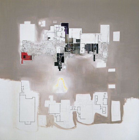 Guillermo Kuitca, <em>Global Order</em>, 1999. Oil on canvas, 74 x 74 inches. Collection of the artist. © Guillermo Kuitca. Courtesy the artist and Hauser & Wirth.