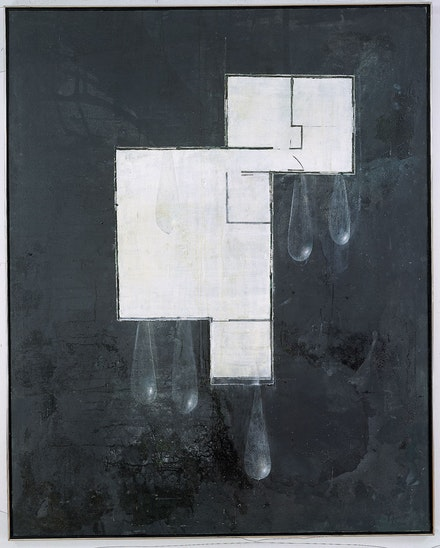 Guillermo Kuitca,<em> House Plan with Tear Drops</em>, 1989. Acrylic on canvas. 79 x 63 inches. Walker Art Center, Minneapolis. © Guillermo Kuitca. Courtesy the artist and Sperone Westwater, New York.