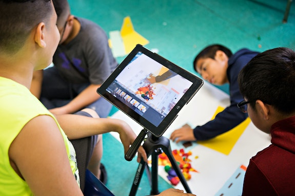 5th graders in Studio NYC's Long Term Program at 145K use istop motion and collage to make short stop motion animations, learning collaboration, story telling, and media skills. © Mindy Best